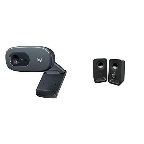 Logitech C270 Webcam HD, HD 720p 30fps, Videochiamate HD Widescreen, Correzione Automatica Luminosità & Z150 Altoparlanti Stereo Multimediali Compatti Ingresso Audio da 3.5 mm, Controlli Integrati