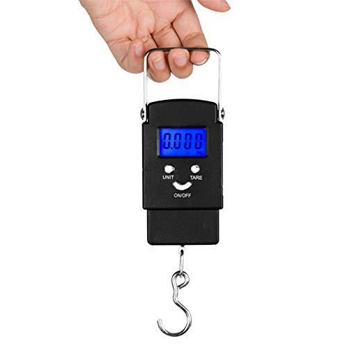 Báscula De Pesca con Pantalla LCD Retroiluminada De 110 Lb/50 Kg, Báscula Portátil De Gancho para Colgar Bolsa De Cocina Postal