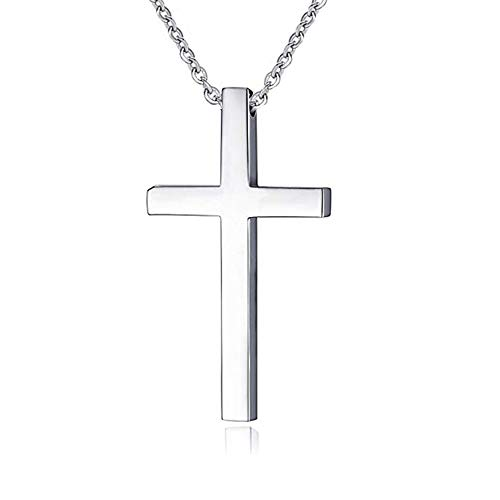 Simple Stainless Steel Cross Pendant Necklace for Men Women (22inches chain)