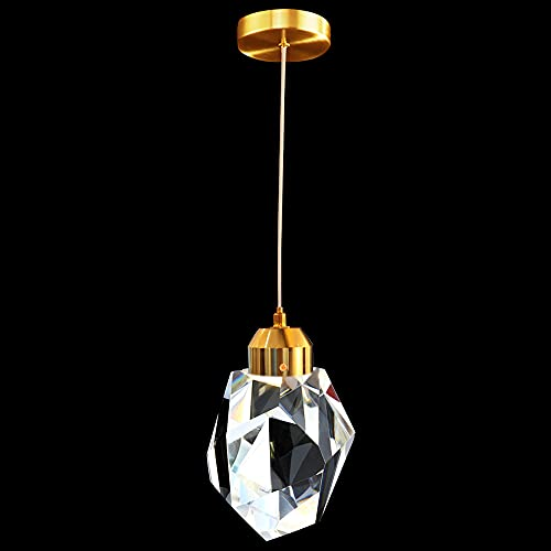 Mivenda Modern Crystal Pendant Lights,1-Light LED Island Hanging Ceiling Light Fixture with Adjustable Length,Gold Ceiling Light Fixture for Bedroom, Dining Room, Bathroom, Kitchen, Entryway , Aisle