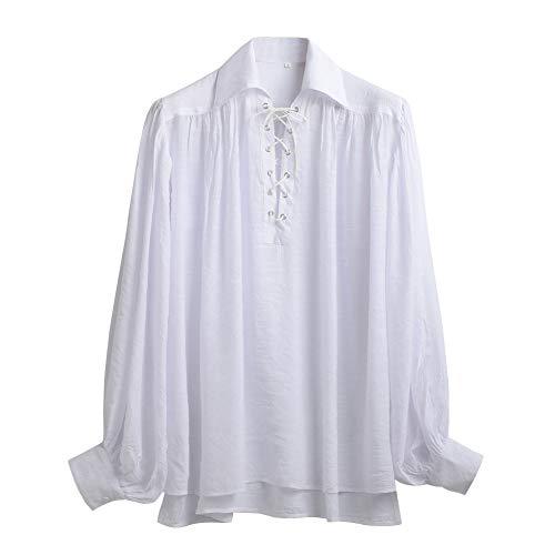GRACEART Renaissance Men's OR Women's Pirate Shirt Medieval Costume Cotton (X-Large, White-2 Without Belt)