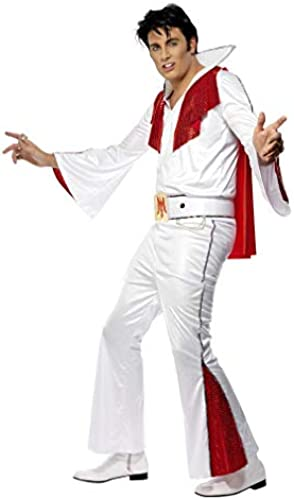 Horror-Shop Elvis Kostüm original Weiß Rot L