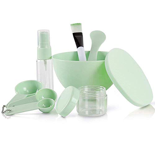 Teenitor DIY Facemask Mixing Tool Kit with Big Volume Mask Bowl Spatula Brush Spray Bottle Puff Soaking Bottle Gauges Pack of 9 Green