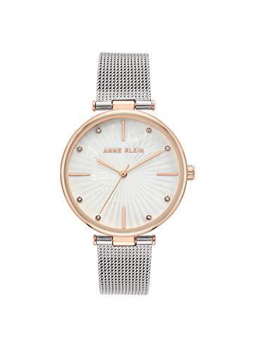 Anne Klein Reloj de pulsera de malla con detalles de cristal premium para mujer