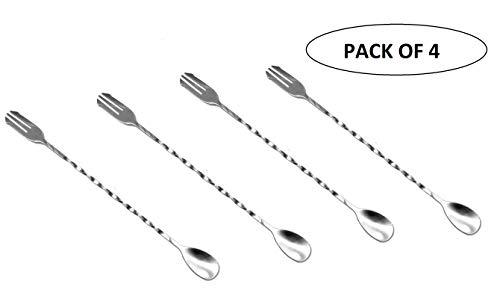 ASP Online Traders Pack van 4 RVS Mixing Lepel Met Vork Voor Restaurant/Home/BarTool Whiskey Cocktail Shaker Lepel Spiraal Patroon - 16 Inch