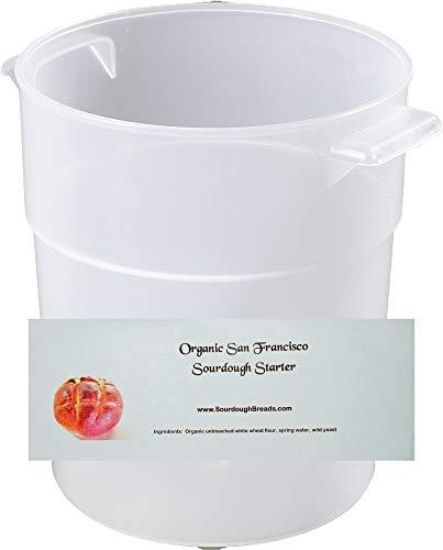 Organic San Francisco Sourdough Bread Starter and 3.5-Quart Dough Rising Bucket with Lid