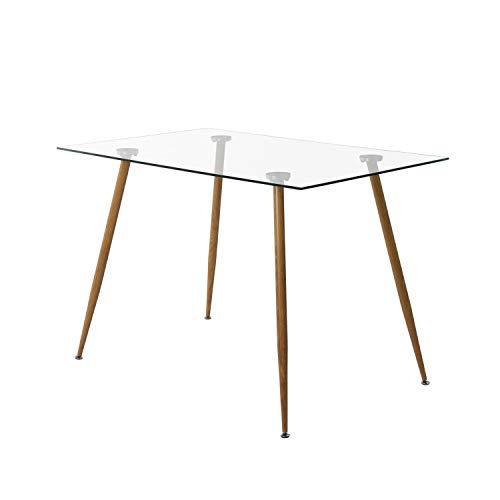 H.J WeDoo Glas Rechteckig Esstisch Holzstil Metallbein für 4 Stühle Esszimmertisch Küchentisch Gehärtetes Glas Transparent 110 x 70 x 75 cm