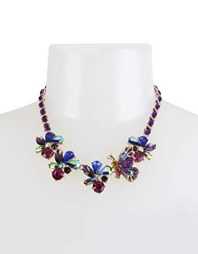 Betsey Johnson Butterfly & Stone Cluster Frontal Necklace