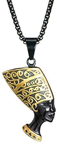 NC190 Hip Hop Hombres Collar Negro 316L Acero Inoxidable Antiguo Egipto Reina Colgantes Collares para Hombre Hiphop Rock joyería