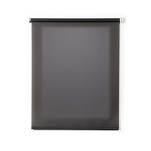STORESDECO Estor Enrollable traslúcido Liso, Estor para Ventanas y Puertas (140 cm x 180 cm, Gris)