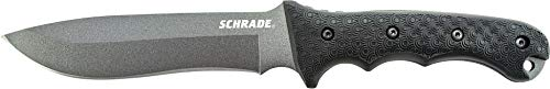 Schrade SCHF9 12.1in Stainless Steel Fixed Blade Knife with 6.4in Kukri Point Blade and TPE Handle for Outdoor Survival Camping and Everyday Carry