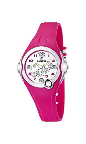 Calypso Watches - Reloj analógico de Cuarzo para niña con Correa de Caucho, Color Rosa