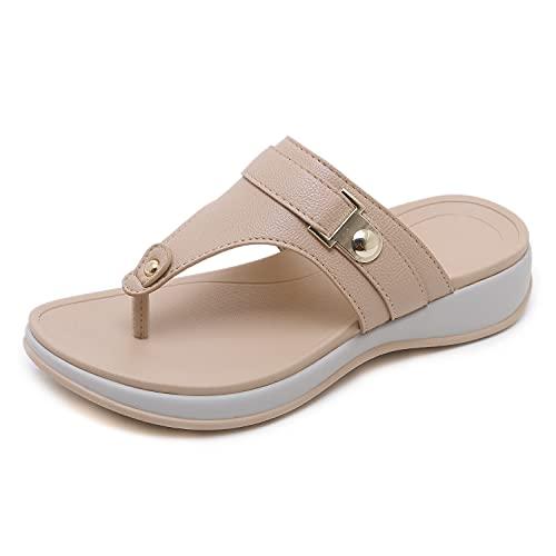 WLQWER Cómodo Toe Post Sandals Flip Flops Beach Bohemian Sandalias Non-Slip Casual Thong Wedge High Heel Zapatos Zapatillas,Rosado,39