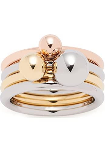Leonardo 019650 Damen Ring Sfera 3-teilig Edelstahl Tricolor 19,1 mm Größe 60