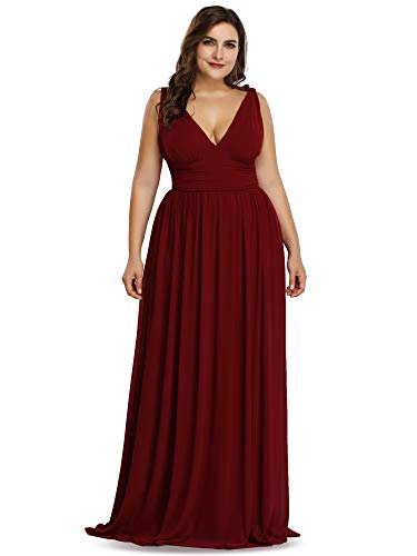 Ever-Pretty Womens Double V Neck Sleeveless Chiffon Plus Size Bridesmaid Dresses for Wedding Party 26 US Burgundy
