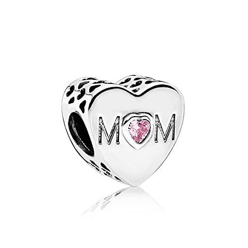 QWEILOY Pandora 925 Charm Silber Perle Mo R Herz Mode Frauenarmband Armreif Geschenk DIY Schmuck