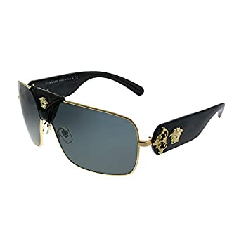 Versace Squared Baroque VE 2207Q 100287 Gold Black Leather Metal Square Sunglasses Grey Lens