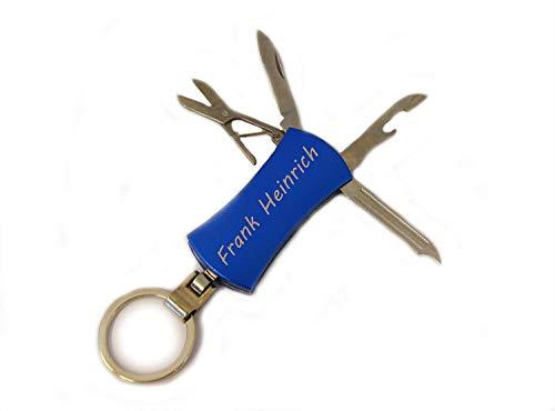 Taschenmesser mit Gravur beidseitig, Schlüsselanhänger Multitool personalisiert mit Namen und Wunschtext, Geschenk für Frauen und Männer (Blau)