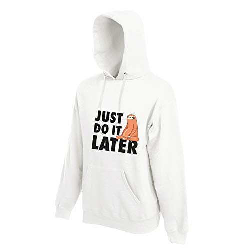 Shirt-Panda Herren Just do it Later Faultier sitzend Hoodie Männer Chillen Sloth Weiß (Druck Schwarz) L
