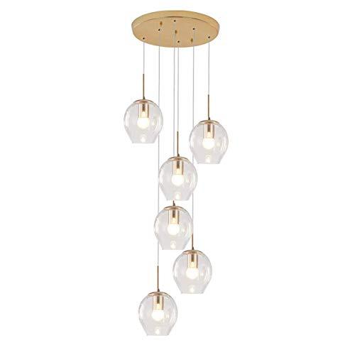 Lustre sphérique moderne en verre clair, 150 cm réglable en hauteur Globe pendentif lumière E27 6 lumières encastré plafonnier boule de verre décor lustre transparent 6 lumières