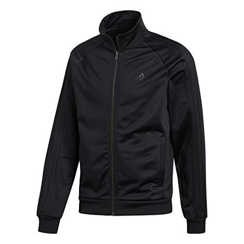 adidas Men's Essentials 3-Stripe Tricot Track Jacket, Black/Black, XXX-Large