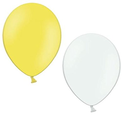 100 Luftballons je 50 gelb & weiß Qualitätsballons 27 cm Ø (Standardgröße B85)