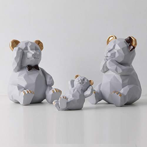 Escultura de estatua de oso geométrico tridimensional nórdico, una familia de tres osos de origami, decoraciones creativas, decoraciones suaves en la sala de estar, como se muestra en la Figura 1