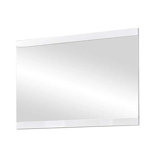 LIFE Wandspiegel, weiss hochglanz - hochwertiger, pflegeleichter Spiegel für Flur & Garderobe - 92 x 67 x 2 cm (B/H/T)