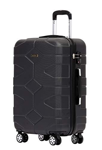 BEIBYE - TSA Schloß 2035 Hartschale Reisekoffer Koffer Handgepäck Trolley (Schwarz, L)