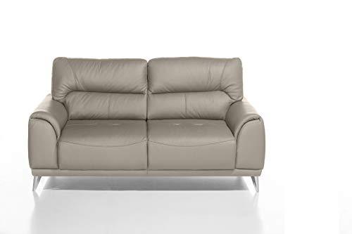 Mivano 2-Sitzer Couch Frisco / 2er Ledercouch in Kunstleder passend zum Sessel und 3er Sofa Frisco / Sofagarnitur / 166 x 92 x 96 / Hellbraun