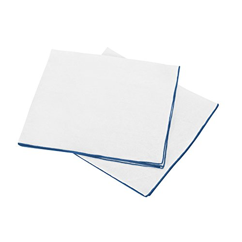 BLANC CERISE Lot de 2 Serviettes de Table - 100% Lin lavé-Unie - Bourdon contrasté Bleu 45x45