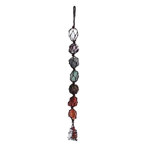 Cafopgrill 7 Farben Chakra Steine, Heilkristalle Naturkristall Auto hängende Edelsteine Anhänger Natursteine Dekor hängende Auto nach Hause Ornament