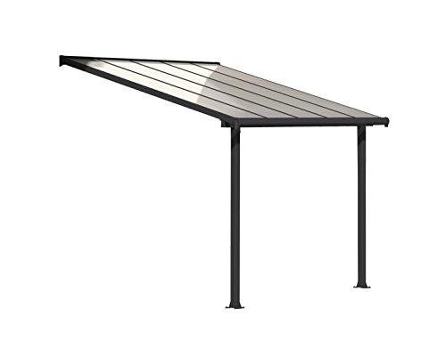 Palram Olympia Terrassenüberdachung 3x3 - Gestell aus Alumiuium & 16 mm Polycarbonat - Terrassendach Für den Ganzjährigen Gebrauch Geeignet, Grau, 307 x 295 x 305 cm