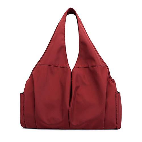 LENAZI bolsa de hombro de nailon de gran capacidad, impermeable, para ir de compras, liviana, de trabajo, para mujer, Rojo (rojo vino), Medium