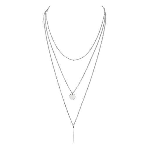 Damen Halskette aus 925 Sterling Silber und Poliertuch für Silber Schmuck Dreifachkette (Silber)