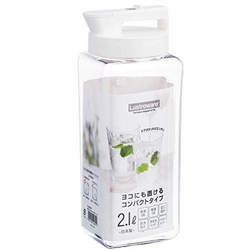 岩崎工業 麦茶ポット タテヨコ・スマートピッチャー 2.1L ホワイト K-1280 | おしゃれ 耐熱 横置き 洗いやすい 冷水筒 麦茶入れ ジャグ 広口 日本製 水差し タテヨコ置ける 熱湯OK 約2L