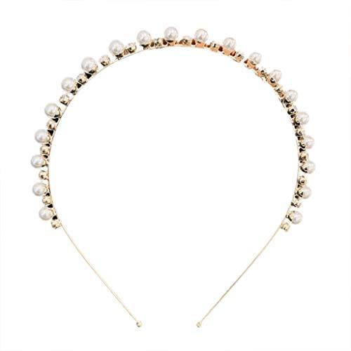 VIccoo Mesdames Bijoux De en Alliage De Métal Bandeau Imitation Perle Strass Perlé Mince Cerceau De Cheveux Fantastique Banquet De Mariage Chapeaux - A#