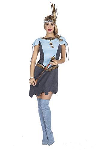 Disfraz de india para mujer, color azul claro con plumas, vestido en imitacin de ante, Squaw Western Wild Western Wild Westen, talla: 40