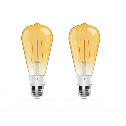 Preisvergleich Produktbild Yeelight E27 Smart Wifi Glühlampe,  500 lm dimmbare LED-Edison-Lampe im Retro-Design,  IFTTT-kompatibel mit Homekit,  Alexa,  Smartthings (2PACK)