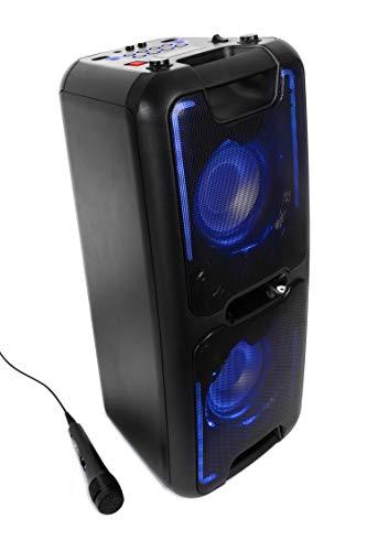 Reflexion PS08BT DJ Karaoke PA-Anlage, mobil mit Akku und Lichteffekten (Bluetooth, USB, AUX, Mikrofon, 480 Watt), schwarz