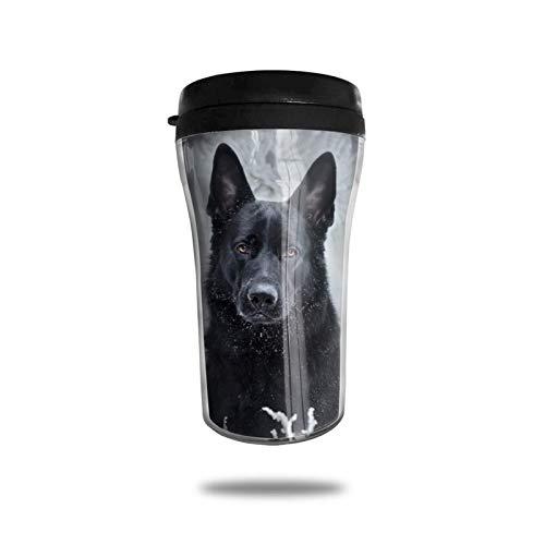Taza de café de viaje de pastor alemán negro, taza de vacío portátil con impresión delicada, taza con aislamiento ABS de grado alimenticio, antiderrame (8.8 oz)