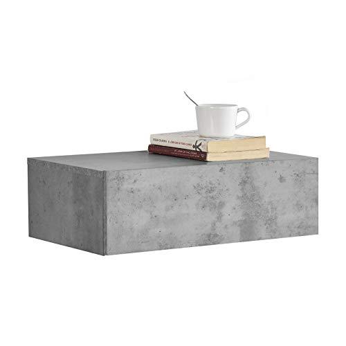 [en.casa] Wandplank met lade - Betonlook