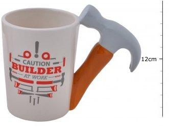 Voorzichtigheid Bulider op het werk mok, Chunky keramische mok met ofwel een zaag of een hamer met de boodschap waarschuwing bouwer op het werk van Homestreet®