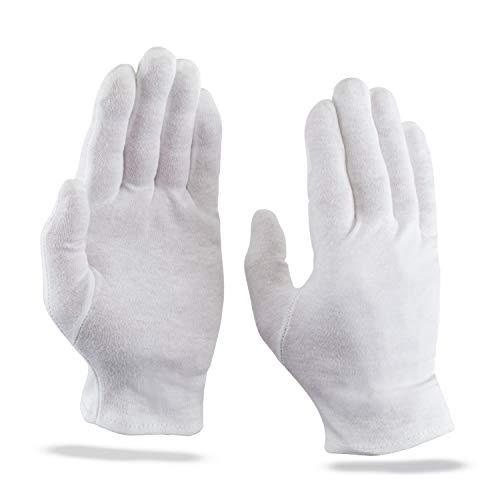 KAMUM 100% Baumwollhandschuhe weiß - Dermatologisch getestet (3 Paar/10 Paar) Feuchtigkeitsspendende Handschuhe - extrem weich& angenehm zu tragen (XL, 3 Paar)