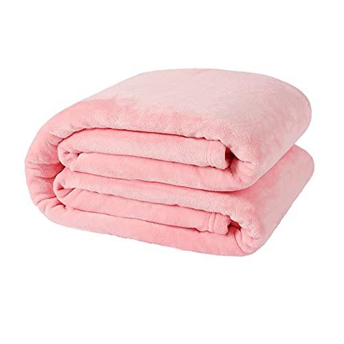 NANPIPER Fleece Blankets, Super Soft Flannel Queen Size Blanket for Bed, Luxury Cozy Microfiber Plush Fuzzy Blanket,Pink