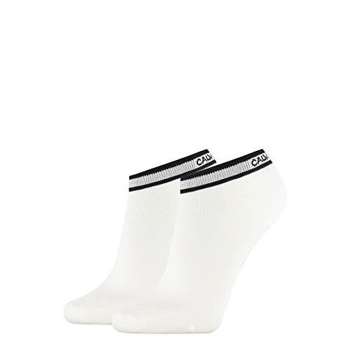 Calvin Klein Frauen Liner Logo Cuff Stripe Spencer Socken, Weiß, ONE Size