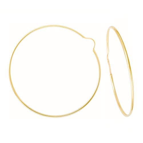 Pendientes de aro redondos lisos flexibles de oro amarillo (375/1000) 55 mm