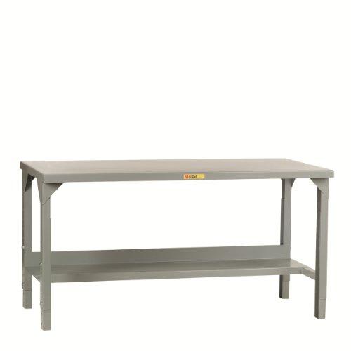 "Little Giant WST2-2460-AH Welded Steel Workbench, 4500 lb. Load Capacity, 1 Half-Shelf, 27"" to 41"" Adjustable Height, 60"" x 24"", Gray"