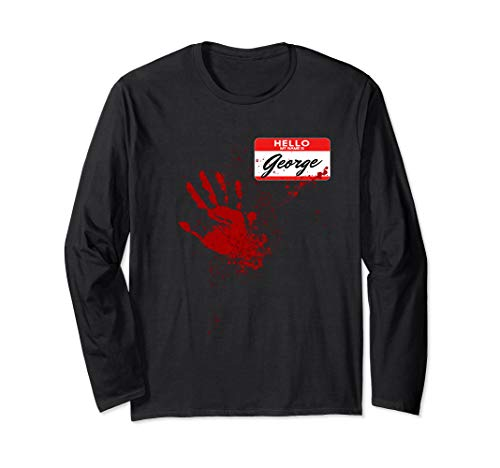 Hello My Name Is George - Blood Hand - Scary Halloween Long Sleeve T-Shirt