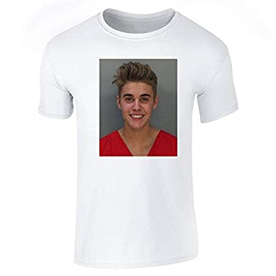 Jail is Not A Cool Place to Be Celebrity Mugshot White L Graphic Tee T-Shirt for Men